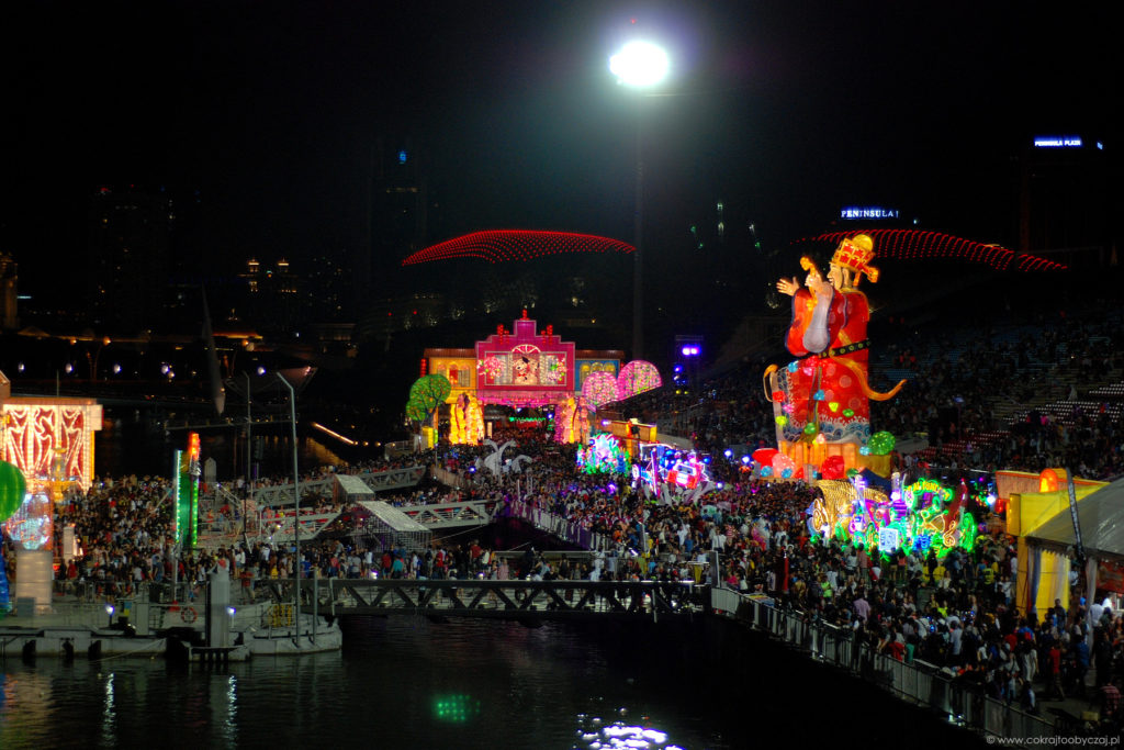Widok na River Hongabo podczas finału Chingay 2018.