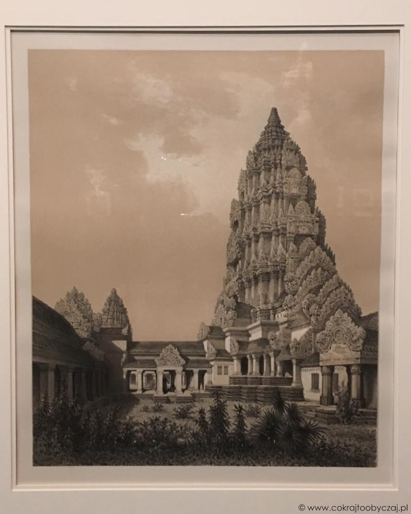 Centralne wieże i górny dziedziniec Angkor Wat na litografii wykonanej w oparciu o rysunek Loiusa Delaporte (1873).
