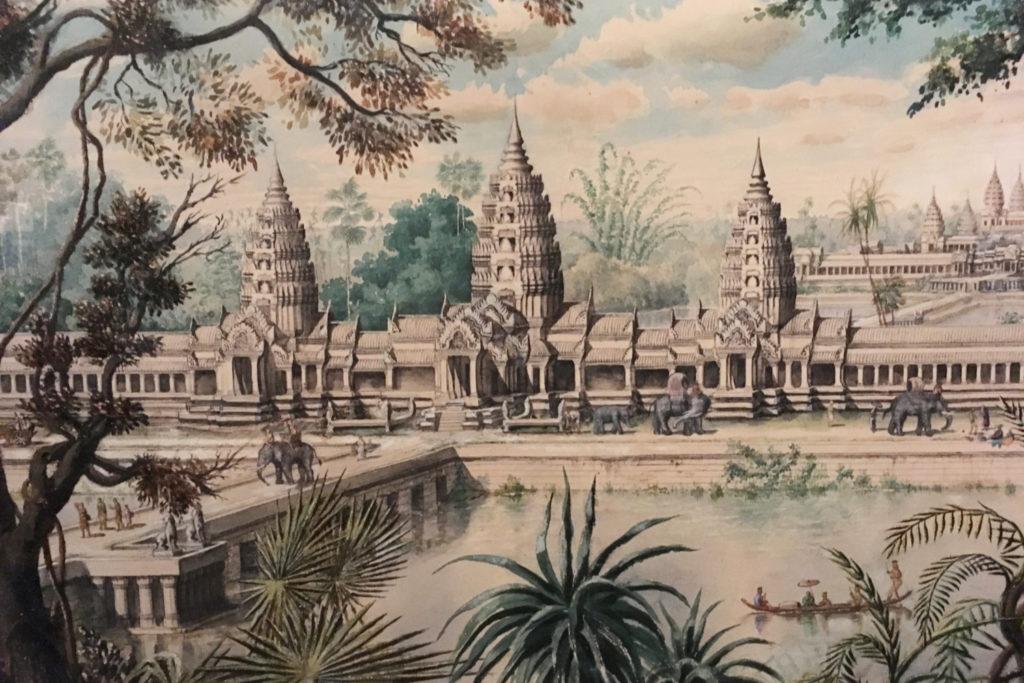 Widok na zachodnie wejście do Angkor Wat, litografia w oparciu o rysunek Louisa Delaporte (1873).