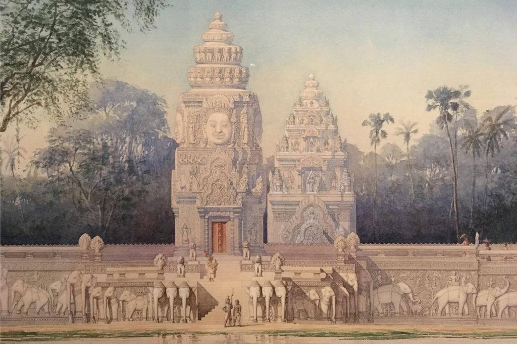 Rekonstrukcja świątyni Phimeanakas w wyobrażeniach Louisa Delaporte. W rzeczywistości fosy nigdy tam nie było.