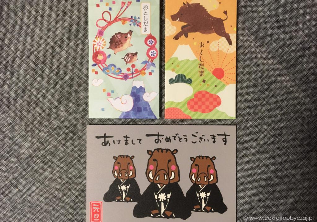 Pocztówki i otoshidama z wizerunkiem dzika. Więcej na temat japońskich noworocznych zwyczajów napiszę niebawem.