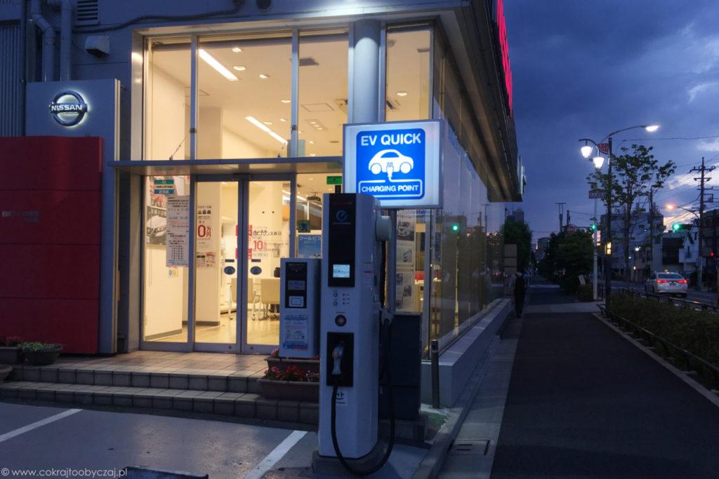 Salon Nissana z punktem ładowania samochodów elektrycznych.