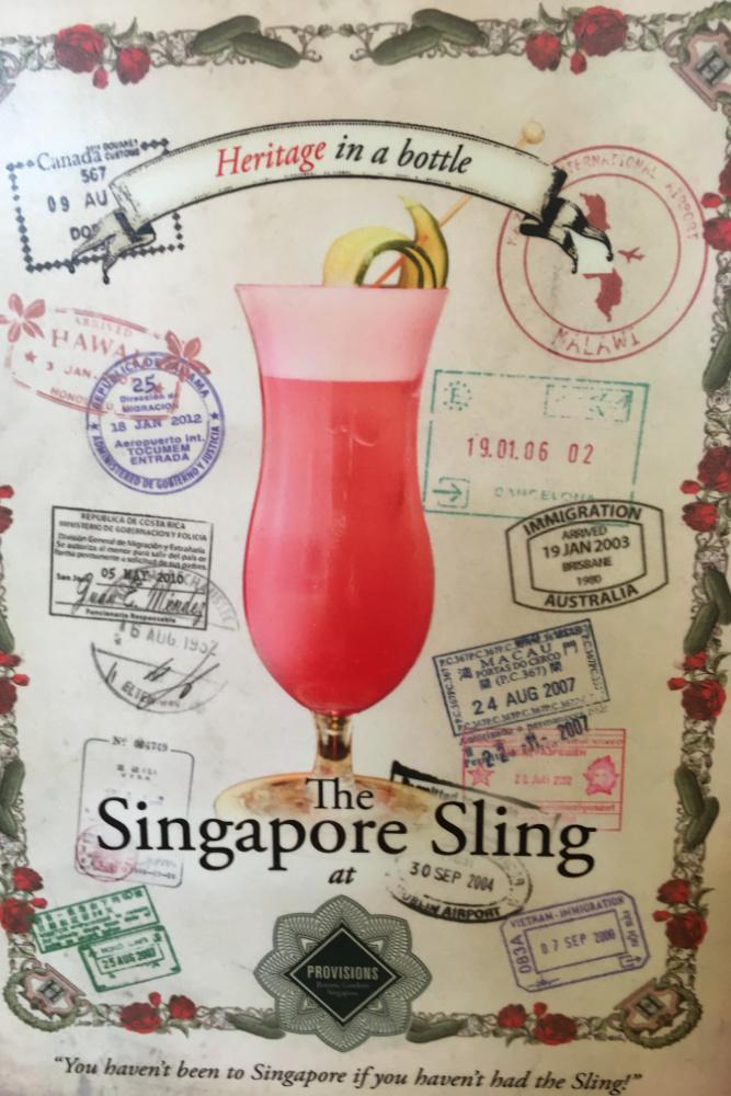 Reklama drinka Singapore Sling.