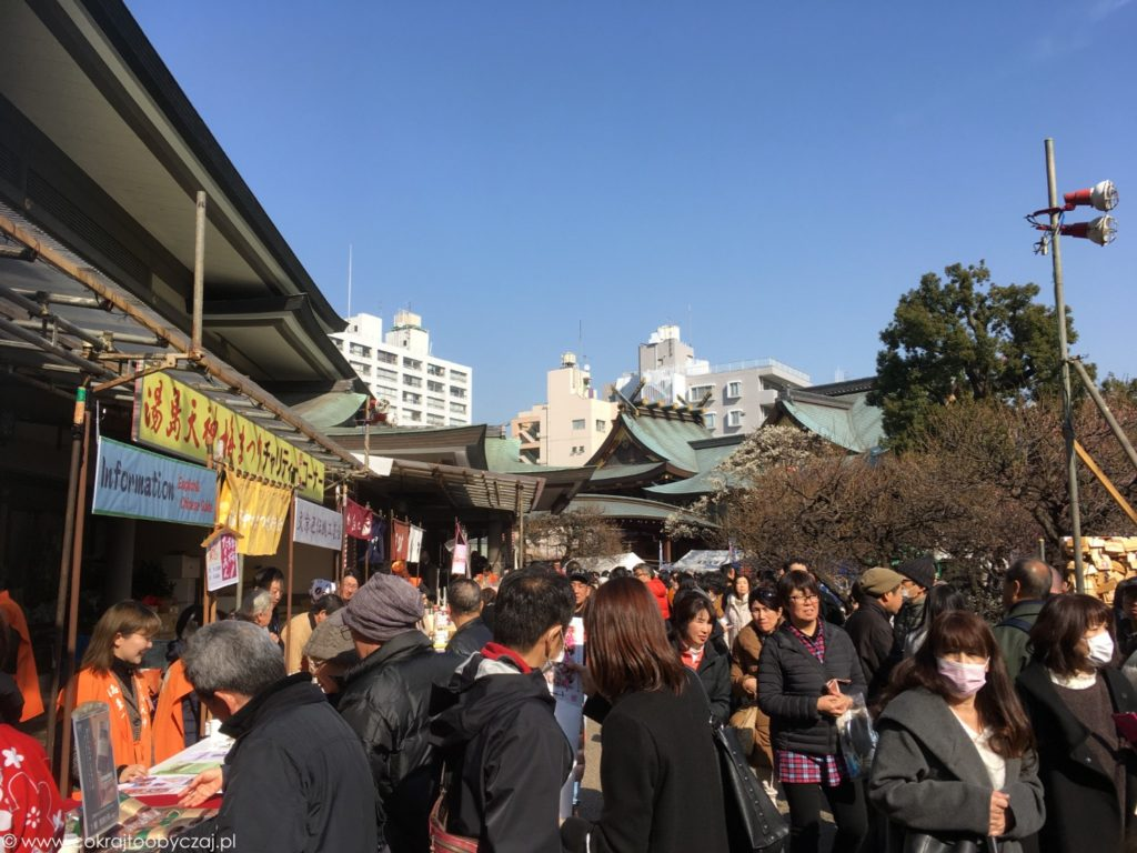 Tłumy podczas ume matsuri w Yushima Tenmangu.